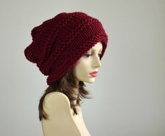 Burgundy Knit Hat - Womens Hat - Slouchy Hat - Oversized Hat - Beanie - Winter Accessories - Chunky Knit Hat. $35.00, via Etsy.