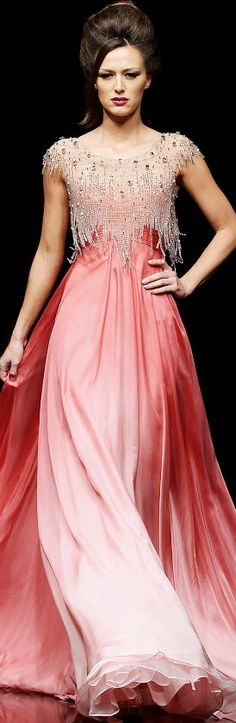 Hanna Touma ~ long pink gown with heavy beading at the top