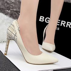 White Point Toe Stiletto Plaid Print Casual High-Heeled Shoes
