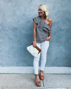 Sugarplum Style, Vol. Summer Outfits, one shoulder ruffe top summer date night outfit. Dinner Date Night Outfit, Date Night Outfit Classy, Classy Summer Outfits, Summer Fashion Outfits, Night Outfits, Spring Outfits, Cool Outfits, Casual Outfits, Summer Dinner Outfits