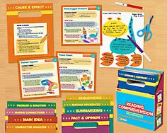 Reading Comprehension Activity Pockets. Create hands-on activities with any classroom text. (Cause and Effect Creature, Chained Together sequencing, etc.)