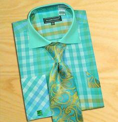 Avanti Uomo Mint/White Men's Dress Shirt/Tie/Hanky/Cufflink Set Matching Formal #AvantiUomo