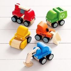 Kids' Earth Friendly Toys: Kids Rubberwood Mini Toy Truck Set in All Toys Wooden Truck, Wooden Car, Plan Toys, Toy Trucks, Mini Trucks, Felt Toys, Wood Toys, Diy Toys, Crate And Barrel