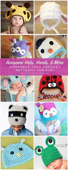 Crochet Hat Patterns for Kids - Daisy Cottage Designs - - Use these free crochet hat patterns to whip up hats for the kids in your life! From Daisy Cottage Designs, there's a hat every little person will love. Crochet Kids Hats, Crochet Crafts, Crochet Hat Pattern Kids, Knit Baby Hats, Kids Crochet Hats Free Pattern, Baby Knitting, Crochet Projects, Crochet Baby Hats Free Pattern, Beanie Knitting Patterns Free