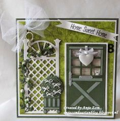Card made by DT member Anja with among others Craftables Trellis flowers (CR1262) and Creatables Vintage door (LR0312) Stable door (LR0313) and Boots and buxus (LR0316) by Marianne Design