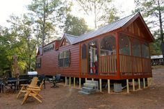 """I Thought Sleeping 6 People In This Tiny Cabin Would Be Crazy, Until You See How — Love It!.  This cabin by Rustic River Park Homes is called """"Chattahoochee."""""""