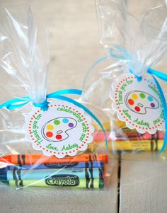 Items similar to The ART Party - Fantastic Favor Tags with Bags from Mary Had a Little Party on Etsy Artist Birthday Party, 6th Birthday Parties, Birthday Fun, Party Favors For Kids Birthday, Birthday Ideas, Art Party Favors, Craft Party, Party Gifts, Kids Art Party