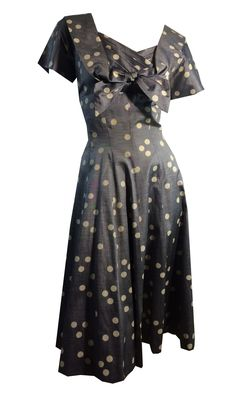 4336e3552fc9 Silvery Blue Iridescent Shot Silk Polka Dot Party Dress circa 1950s