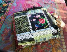 Art journal inspiration. Rambling Rose. Typepad blog. Fabric journal tuscan rose h