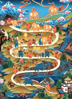 """This thangka painting illustrates the different stages of """"Samatha"""" that is one of the fundamental meditation practices of the Tibetan Buddhist tradition. Buddhist Meditation Techniques, Meditation Practices, Easy Meditation, Tibetan Art, Tibetan Buddhism, Vipassana Meditation, Vajrayana Buddhism, Buddhist Traditions, Thangka Painting"""