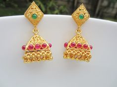Sale 15% Off Temple Jewelry, Gold Jhumkas with Pink and Green Stones, Indian Jewellery, Gift for Her
