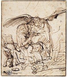 Rembrandt, 'Annunciation' sepia ink