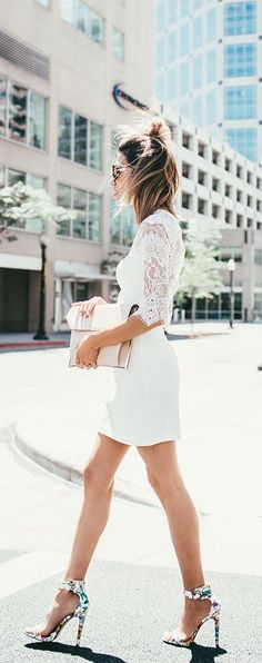#summer #fashion / all-white lace dress
