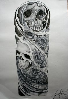 Awsome Skulls and Roses Drawings | Skulls and roses tattoo sleeve watercolour by ~GazFarmerArt on ...