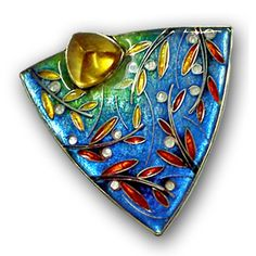 by Carolyn Delzoppo  35mm x 35mm  stg and fine silver, cloisonne' enamel, citrine