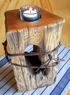 Rustic wood and barbed wire candle