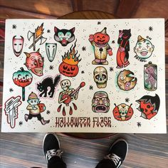 Looking for something to do around Halloween? Come & visit… Halloween flash week! Looking for something to do around Halloween? Flash Art Tattoos, Tattoo Flash Sheet, 13 Tattoos, Body Art Tattoos, Tattoo Drawings, Cool Tattoos, Teen Tattoos, Tattoo Pics, Halloween Tattoo Flash