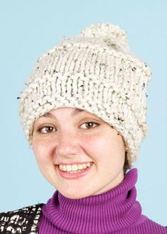 Tweed Beginner's Hat  Easy to knit in an evening and uses only one skein of yarn!