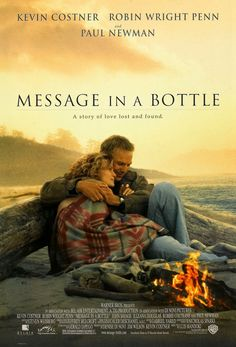 Message in a Bottle is a 1999 American romantic drama film directed by Luis Mandoki. Based on a novel with the same name by Nicholas Sparks, the film stars Kevin Costner, Robin Wright Penn, and Paul Newman. Robin Wright, Kevin Costner, Beau Film, Office Film, Box Office, Thriller, Image Internet, Nicholas Sparks Novels, Sparks Movies
