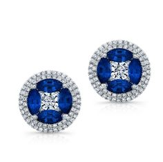 HIGH QUALITY NATURAL COLOR 18K WHITE GOLD CONTEMPORARY OVAL SAPPHIRE DIAMOND EARRINGS EMBEDDED WITH WHITE DIAMONDS FEATURING 3.18 CARAT TOTAL WEIGHT