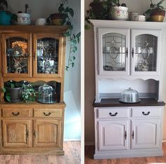 Before and after. Finally finished my hutch. I opted to paint the mirror white, the hutch grey and a darker stain on the open shelf. Also…