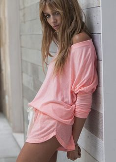 Women's slouchy pajama shorts in Pretty Pink Melon Glow by Eberjey are perfect for Spring & Summer! Elastic waistband shorty with the collec... $44