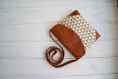 Triangles Cross Body Bag Sand / Vegan Crossbody bag / от RabbitLia