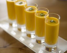 Served in shot glasses, carrot ginger soup makes a splendid party appetizer, but it's equally at home in a thermos, toted on a winter hike. (Chris Andre/Parties That Cook)