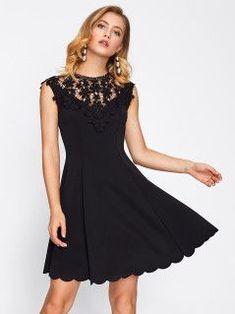 Guipure Lace Yoke Scallop Hem Flare Dress Sexy Dresses 66ac4fb845b5