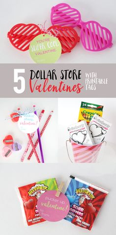 Dollar Store Valentines with Printable Tags: