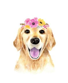 Golden Retriever with Pink Flower Crown Print, Watercolour Dog Portrait, Golden Retriever Illustration, Animal with Flower Crown by BreezyBirdGoodies on Etsy