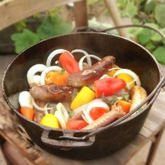 Do you love beer and sausages? This Dutch Oven Beer and Sausage recipe is an easy, quick, and a last minute one-pot dinner. Sausage Recipes, Pork Recipes, Cooking Recipes, What's Cooking, Recipies, Iron Skillet Recipes, Cast Iron Recipes, Dutch Oven Cooking, Dutch Oven Recipes