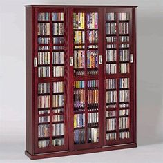 Leslie Dame MS-1050DC Mission Style Multimedia Storage Cabinet with Sliding Glass Doors, Cherry