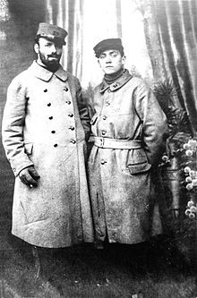 French painter Robert Antoine Pinchon (left) and a friend as p.o.w. during WWI in Germany, 1917