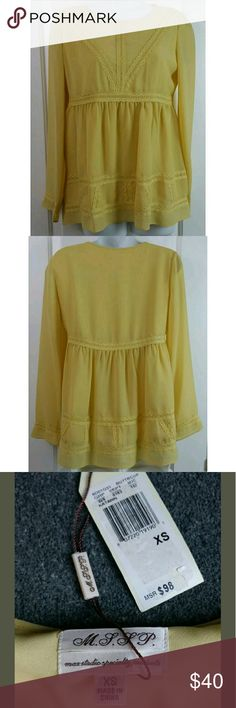 """NWT MAX STUDIO Katarin Baby doll Blouse New with Tag MAX STUDIO Katarin Baby doll Blouse Top Shirt Mustard Yellow with lace design  XS Extra Small MSRP $98  Measurements laying flat  Armpit to armpit 17.5""""  Length 26""""         1-8 Max Studio Tops Blouses"""