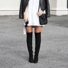 #OverTheKnee goodness. 'TAJ' in Black Stretch Suede is back, and we're obsessed!  BAG: 'THOR' Black Pony  SHADES: 'CONVENT' Black/Smoke  #tonybianco #tonyloves #tbtaj #tbthor #love #fashion #streetstyle #monochrome #boots