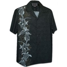 chemise hawaienne ...hyppocampus and turtles
