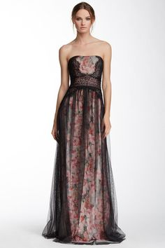 Strapless Mesh Skirt Floral Gown