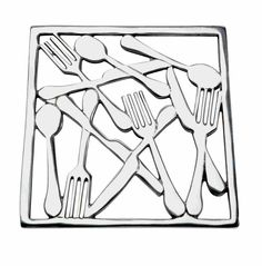 Aluminium hot-pot stand cast to form a jumble of cutlery. Rubber feet to protect surfaces. Sq20cm. £9.50