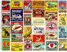 Safety Match, STICKERS, Matchbook Clip Art, Match Box Covers, Vintage Inspired, Wood Match Box, Altered Art Supply, Collage Clip Art, 284a by retrowallart on Etsy