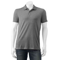 Men's Apt. 9® Jaspe Slim-Fit Textured Polo, Size: Med Slim, Grey