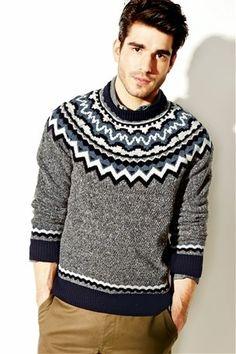 Grey Yoke Pattern Knit