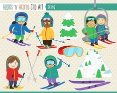Skiing Clip Art - color and outlines $