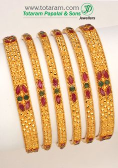 Totaram Jewelers: Buy 22 karat Gold jewelry & Diamond jewellery from India: 22K Fine Gold Ruby-Emerald Bangle - Set of 6(3 Pairs).
