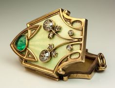 Superb Antique Russian Art Nouveau Enamel Diamond Emerald Gold Locket | eBay