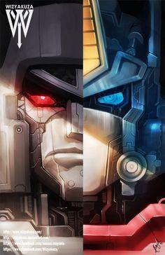 Transformers - Optimus Prime and Megatron Split - Generation 1 - 11 x 17 Digital… Optimus Prime Transformers, Transformers Decepticons, Transformers Drawing, Mega Pokemon, Gi Joe, Geeks, Oeuvre D'art, Les Oeuvres, Digital Prints