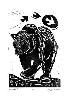 EatSleepDraw • Grizzly Bear Lino Print  Please see my...