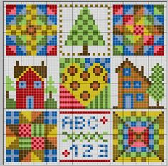 patchwork cross stitch sampler pin cushion or pillow depending on the count chart 1 of 2
