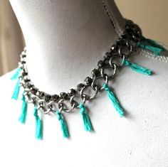 chain bib silver turquoise tassel necklace by SweetLakeJewelry, €17.00
