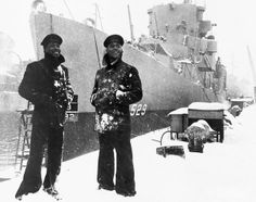 Two sailors from the the USS Mason (DE-529), the first US Navy ship to have a predominantly African-American crew on March 20, 1944 at the Boston Navy Yard in Massachusetts. Photo: Official Navy photography via Corbis